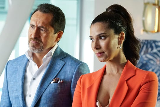 "Santiago (Demián Bichir, left) and Gigi (Roselyn Sanchez) have dark secrets in the scandal-driven ABC drama ""Grand Hotel."""