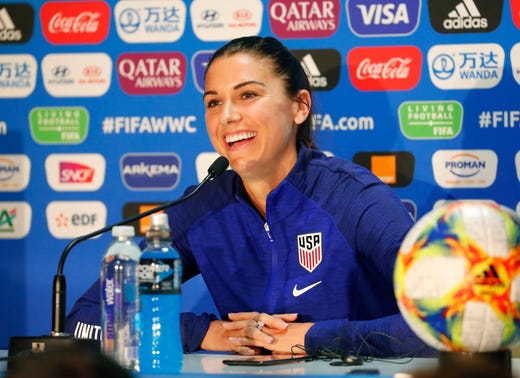 The United States forward Alex Morgan laughs during a Team USA press conference in the FIFA Women's World Cup France 2019 at Stade Auguste-Delaune.