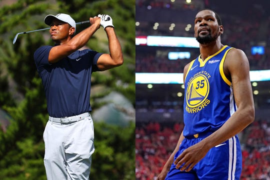 Golfer Tiger Woods, left, and Golden State Warriors star Kevin Durant