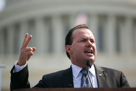 Sen. Mike Lee speaking in front of the Capitol in September 2013 in Washington, D.C.