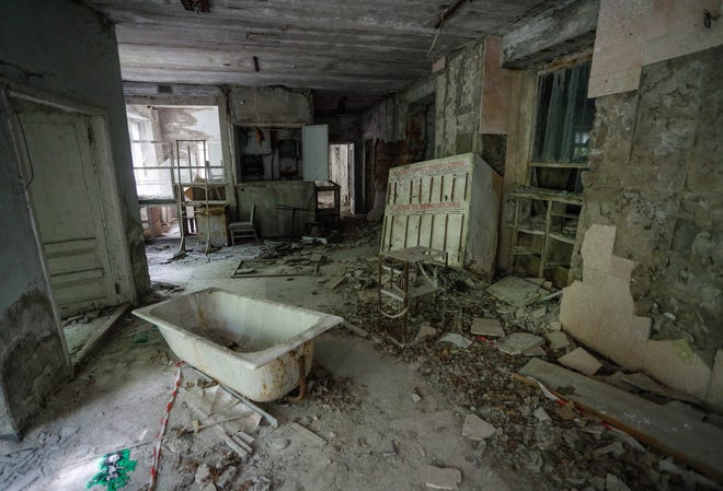 Debris lays in an abandoned hospital in the abandoned city of Pryryat, Ukraine. Pryryat is located within the Chernobyl exclusion zone, set after the Chernobyl nuclear disaster in 1986.
