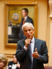 Senate minority leader,Sen. Richard Saslaw, D-Fairfax, speaks during debate on a bill during the Senate session at the Capitol in Richmond, Va.