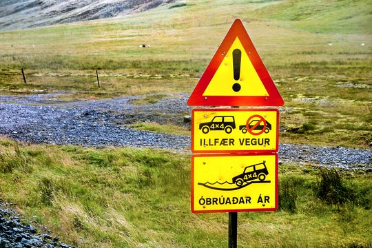 You'll understand the simple graphics of Iceland's road signs even if you don't know the language.