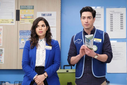"America Ferrera as Amy, Ben Feldman as Jonah on ""Superstore."""