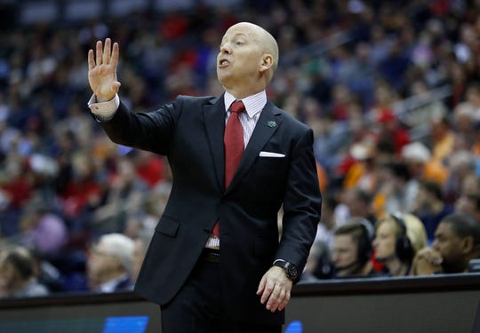 Cincinnati coach Mick Cronin reacts to a play in the first half against the Iowa during the first round of the 2019 NCAA tournament.