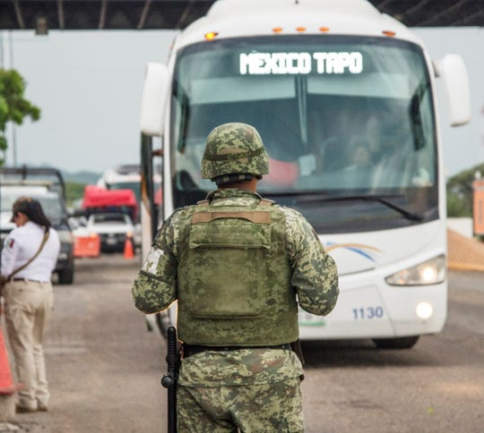 A Mexican soldier in Chiapas on June 11, 2019, at the border with Guatemala.