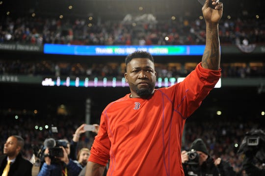 David Ortiz salutes the fans at Fenway Park.