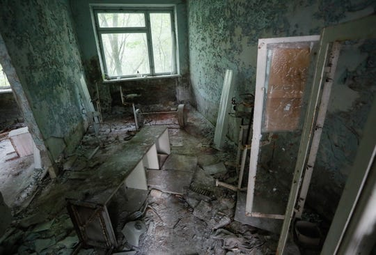 A hospital stand abandoned in Pryryat, Ukraine on June 7, 2019 in the Chernobyl exclusion zone. This hospital received the first causalities the night of the Chernobyl nuclear disaster in 1986.