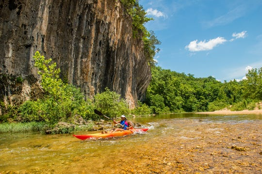 Spring-fed Sinking Creek flows through Echo Bluff State Park, making it a popular destination for fishermen and paddlers.