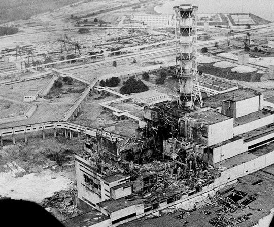 Chernobyl nuclear power plant in April 1986.
