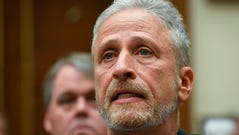 6/11/19 11:39:35 AM -- Washington, DC, U.S.A -- Jon Stewart testifies in front of the House Judiciary Committee on the need to reauthorize the September 11th Victim Compensation Fund on June 11, 2019 in Washington. -- Photo by Jack Gruber, USA TODAY Staff ORG XMIT: JG 138068 Jon Stewart Cong 6/11 (Via OlyDrop)