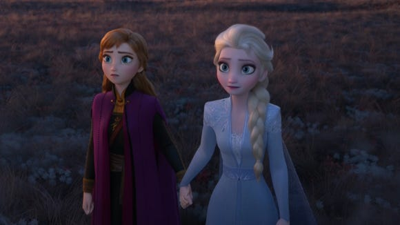 "Anna and Elsa face the unknown together in ""Frozen II."""