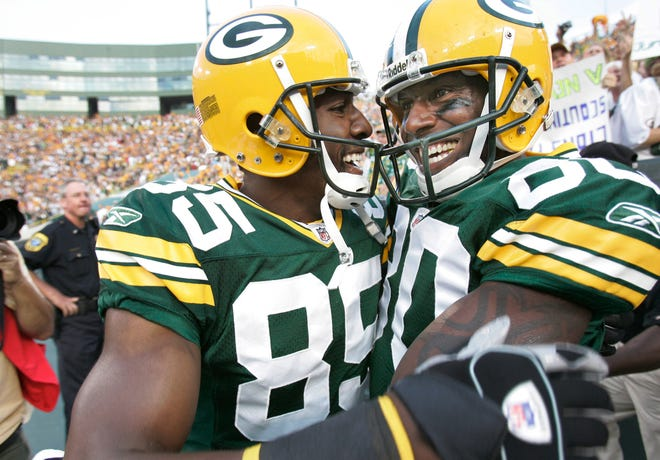 Former Green Bay Packers Greg Jennings, left, and Donald Driver will be reunited in July at Fox Cities Stadium for the Donald Driver Charity Softball Game.
