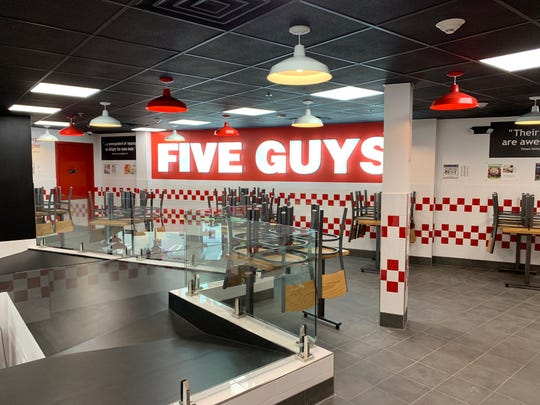 This Five Guys Burger & Fries has a mezzanine.