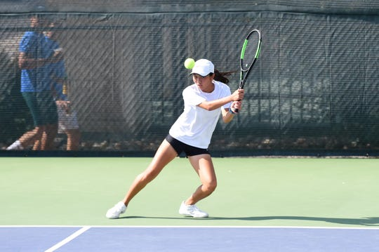 Abilene's Ruth Hill watches her shot during the fourth round of the Girls 16 singles consolation bracket in the USTA Texas Slam at ACU on Wednesday morning. Hill won 6-2, 6-4 before falling 6-4, 6-4 in the fifth-round qualifier.