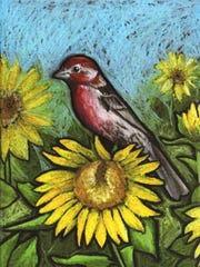 """F is Finch, from Jessalyn Beasley's book """"Little Birder: A Field Guide to Birds of the Alphabet."""""""