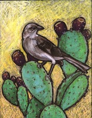 "M is for Mockingbird, from Jessalyn Beasley's book ""Little Birder: A Field Guide to Birds of the Alphabet."""
