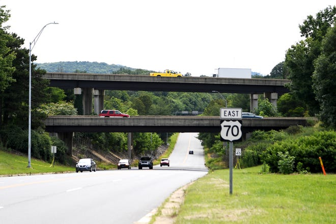 The I-240 overpass above Tunnel Road on June 12, 2019.