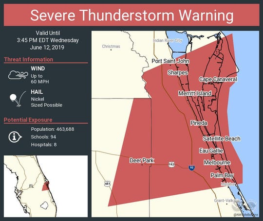 The National Weather Service issued a severe thunderstorm warning as a strong line of storm cells makes its way across East Central Florida.