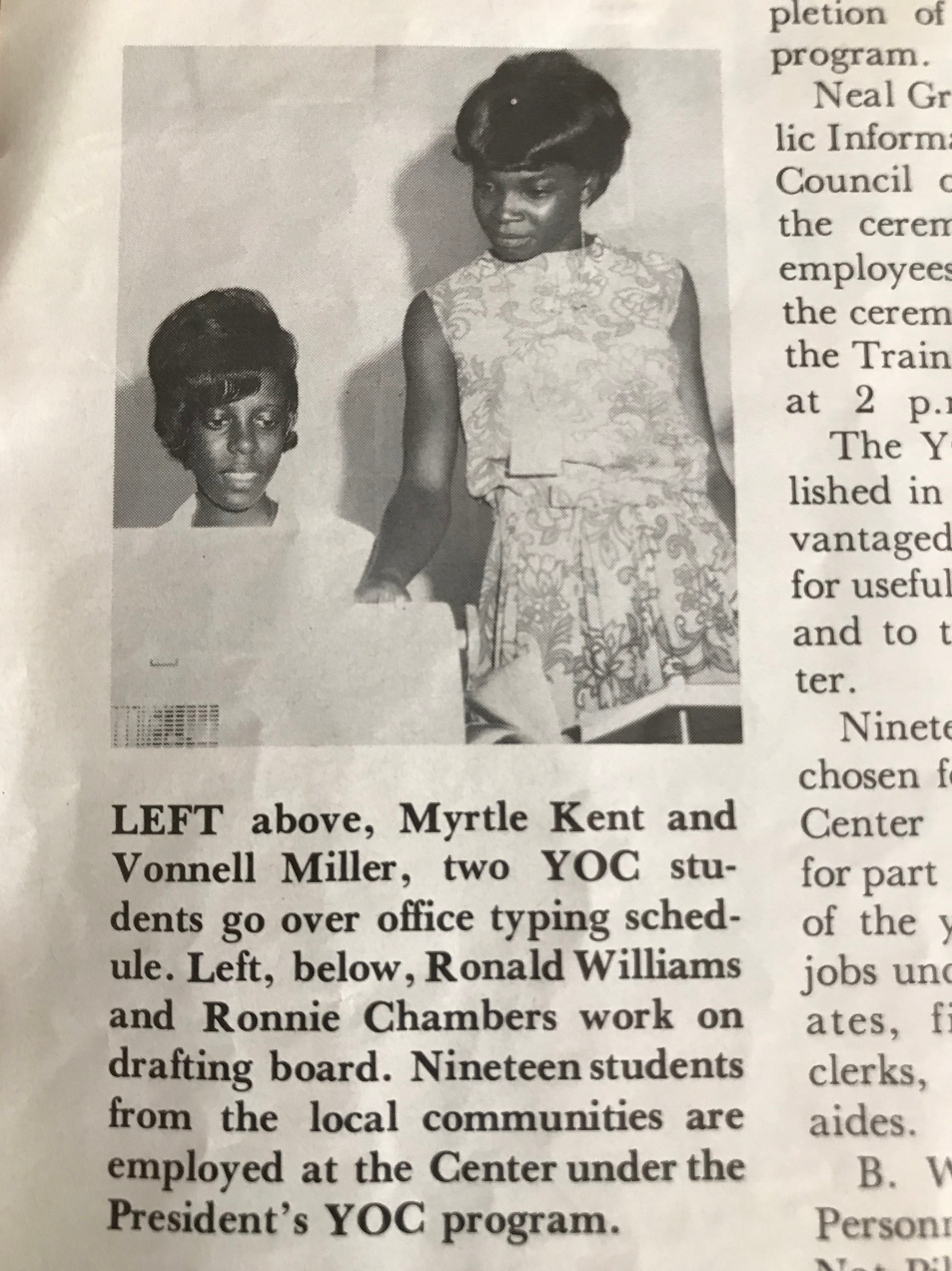 Myrtle Wilcox got her first job with NASA as part of a summer youth opportunity campaign after graduating from high school in 1967. Her maiden name is Kent.