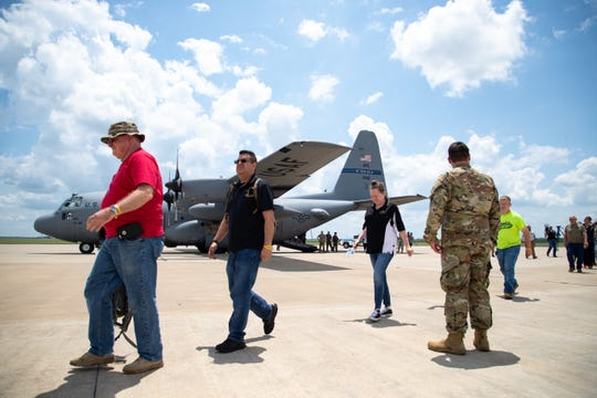 Mock patient are taken off an C-130 during a Texas Air National Guard hurricane air emergency evacuation drill at the Corpus Christi International Airport on Wednesday, June 12, 2019.