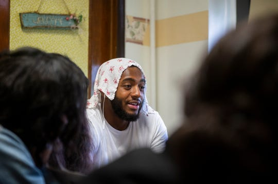 Ron Custis III, 18, discusses his essay at Camden High School at Hatch in Camden, N.J. on Tuesday, June 11, 2019.