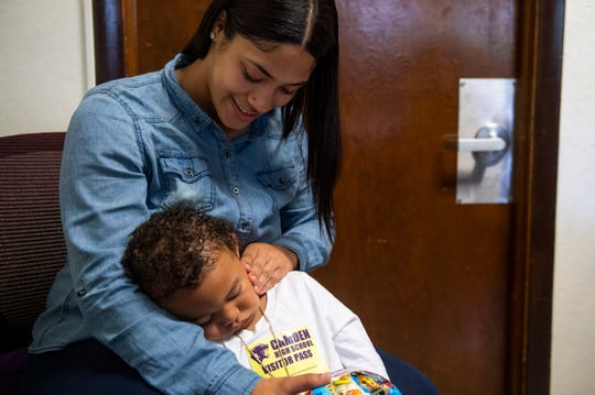 Ana Lopez, 19, with her son Aiden Rosa, 2, inside Camden High School at Hatch in Camden, N.J. on Tuesday, June 11, 2019.