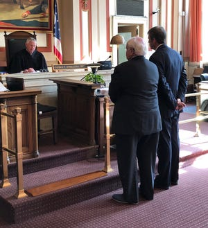 """Hamilton County Common Pleas Court Judge Patrick Dinkelacker sentences Paul Koren, left, to probation. Koren grew pot in his basement that he gave away to cik people. Said his lawyer, Bill Gallager, right, He was just trying to help people."""""""