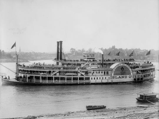 The Island Queen (first version) carried passengers to Coney Island. Coney Island, Cincinnati Circa 1910