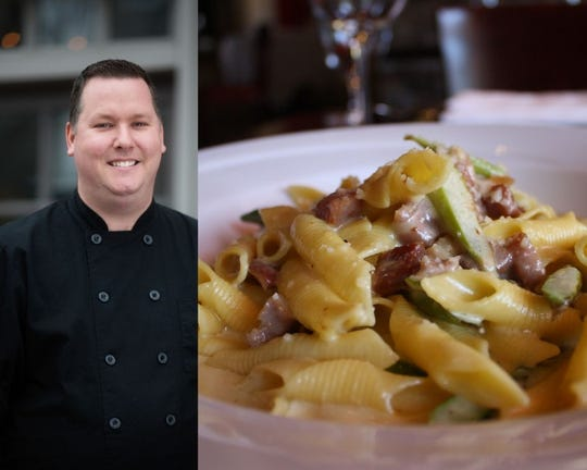On the left, Executive Chef JR Belt. On the right, house special Garganelli with truffle cream, asparagus and prosciutto.