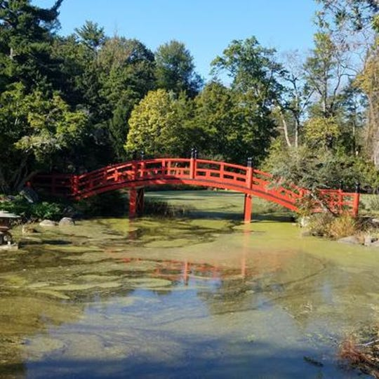 A bridge over a tranquil pond leads to the Meditation Garden in a section of Duke Farms.