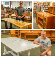 Winners of the Golden Hammer Award are (clockwise from top left) Jake Norgard's coffee table, Liam Miller's credenza and Tyler Neal's dining-room table.