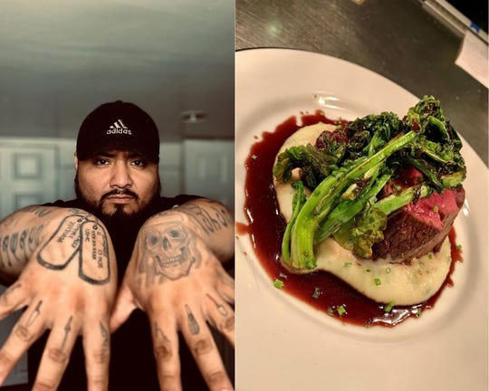 On the left, chef Gary Gonzalez shows off his fully tattooed arms. On the right, filet mignon with pommes puree, broccoli rabe and pan sauce.
