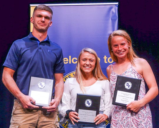 The winners of Delaware Valley High School's Louis DiLullo Character award are: Left to right: Jake Norgard, Kaitlin Arduini and Megan Donnelly.