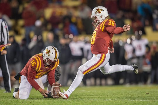 Peyton Paddock kicks the extra point in Iowa State's win over Texas Tech in 2016.