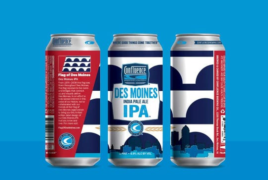 Special edition Des Moines IPA labels created for the Flag of Des Moines/ Confluence Brewery Flag Day event being held on June 14, 2019.