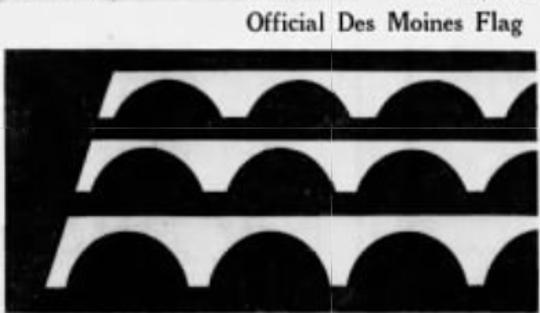 The first published image of Walter Proctor's Des Moines flag design in the Des Moines Register on April 16, 1974.