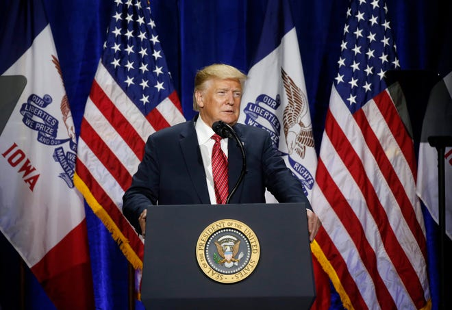 President Donald Trump spoke with central Iowa republicans during the Iowa GOP's America First dinner on Tuesday, June 11, 2019, at the Ron Pearson Center in West Des Moines.