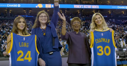 Iowa native Denise Long was drafted by the Golden State Warriors in 1969. She was honored along with a teammate, Shirley Chapman, at halftime of a Warriors game in December 2018.