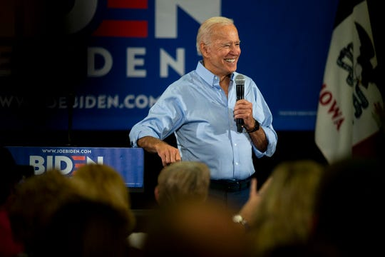 Former Vice President Joe Biden gives his stump speech to a crowd of people at the Clinton Community College on Wednesday, June 12, 2019, in Clinton.
