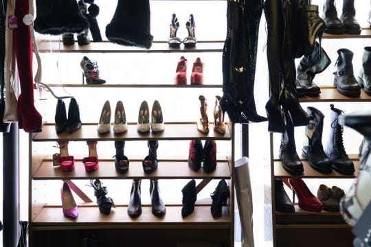 A display of boots and shoes at Noir Leather.