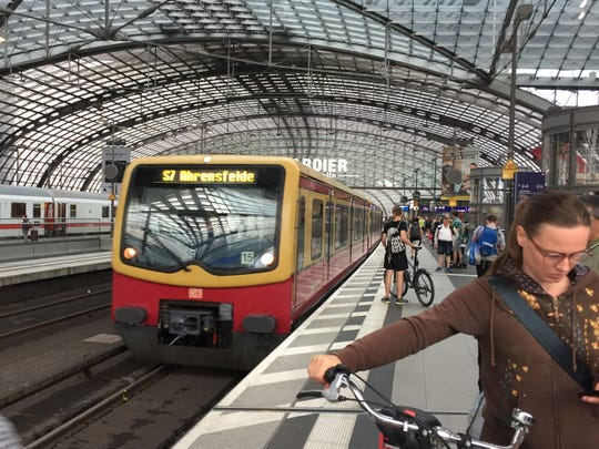 Public transit in Berlin, Germany,  includes an extensive network of trams, subways, and bike commuting, as seen here in June 2019.