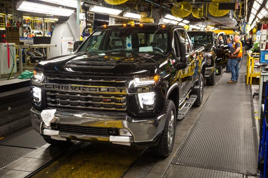 A Chevrolet Silverado full-size pickup truck is ready to roll off the assembly line Wednesday, June 12, 2019 at the General Motors Flint Assembly Plant in Flint, Michigan. GM announced today it will invest $150 million at the plant to increase production of the all-new Chevrolet Silverado and GMC Sierra heavy-duty pickups, which begin shipping to dealers this week. (Photo by Jeffrey Sauger for General Motors)