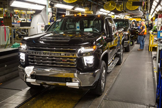 A full-size Chevrolet Silverado is ready to roll off the assembly line at Flint Assembly.