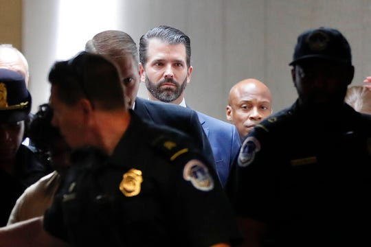 Donald Trump Jr. arrives to meet privately with members of the Senate Intelligence Committee on Capitol Hill on Washington, Wednesday, June 12, 2019.