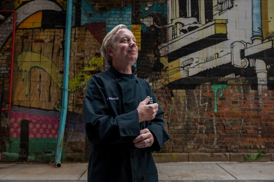Jimmy Schmidt, owner of Lucky Noble BBQ, at The Belt alleyway, in Detroit, June 12, 2019.