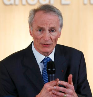 This Jan.24, 2019 file photo shows Jean-Dominique Senard after being appointed Renault chairman in Boulogne-Billancourt, outside Paris.  Senard has expressed his frustration with the French government, a majority shareholder, which he says resisted a merger deal proposed by FCA.