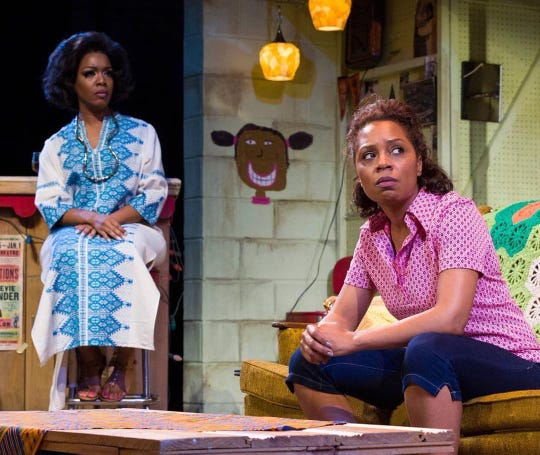 "Jessica Frances Dukes (left) and Michelle Wilson in the 2016 Detroit Public Theatre production of ""Detroit '67,"" the first in Dominique Morisseau's trilogy on her home town. ""Paradise Blue,"" the third in the series, will kick off the theater's 2019-2020 season."
