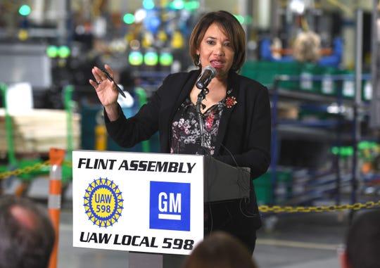 Flint Mayor Karen Weaver speaks after GM President Mark Reuss announced a a $150 million investment in the Flint Assembly plant.
