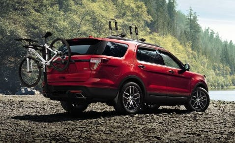 Ford is recalling over 1.2 million Explorer SUVs from 2011 through 2017, including the 2016 model shown, to fix rear suspension problems.